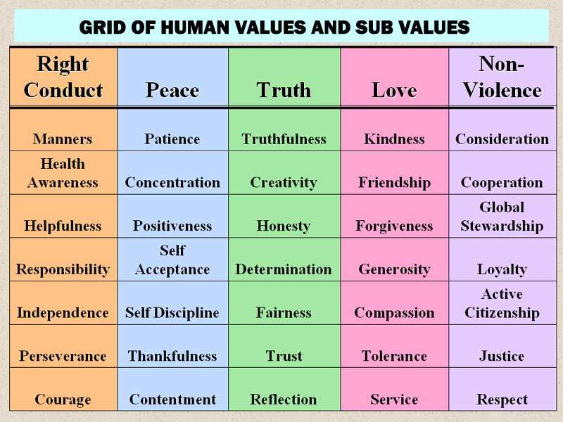 Grid showing the five Human Values