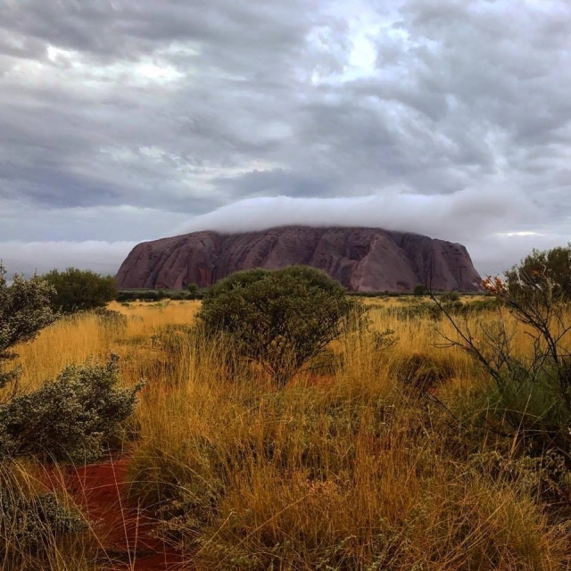 Uluru on a cloudy day